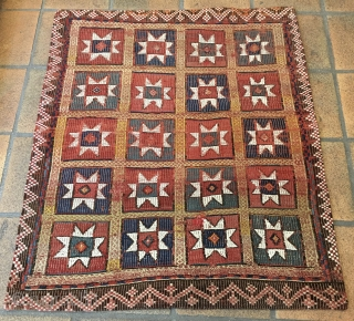 "Beautiful Star Fethiye kilim. Cm 140x150 ca. Early 20th century. Zili weave. Natural dyes. Mounted on wonderful ""Macchiaioli"" canvas for further strength.."