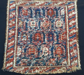 Caucasian sumack bag face. Could be Shirwan. Cm 46x48. Probably mid 19th c. Damaged, worn out, but beautiful, rare, with great pattern and fantastic dyes. Imho a great piece. Have a good  ...
