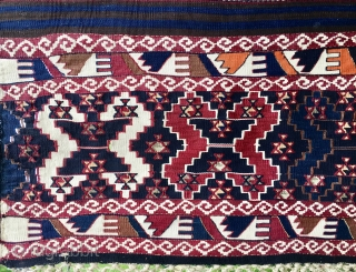 Sinanli, Reshwani group kilim. Eastern Anatolia, Malatya area. Cm 170x310. Great color saturation. Wool, cotton, metal thread. Mint condition except for one 15x15 restoration probably due to a tear since the kilim  ...