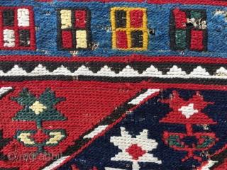 Mogan Shahsavan sumakh mafrash side panel. This flower diagonal striped pattern is rare. I think that it has been woven by the Shahsavan tribal groups on the Mogan plainS, Azerbaijan, but am  ...
