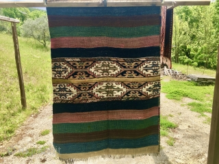 Yellow, super color East Anatolian cuval. Cm 110x150 ca. 120/140 year of age. This is a super storage bag with super colors, super pattern, super condition. It has been photographed on the  ...