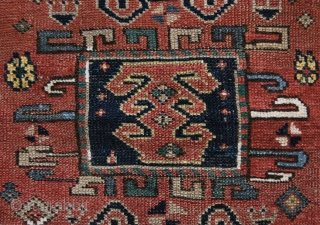 Kozak rug from Bergama area, Western Anatolia. Size is cm 97x137. Early 20th century, so, about 100 years old if not more. Low pile, one old, clearly visible restoration. Interesting pattern, great  ...