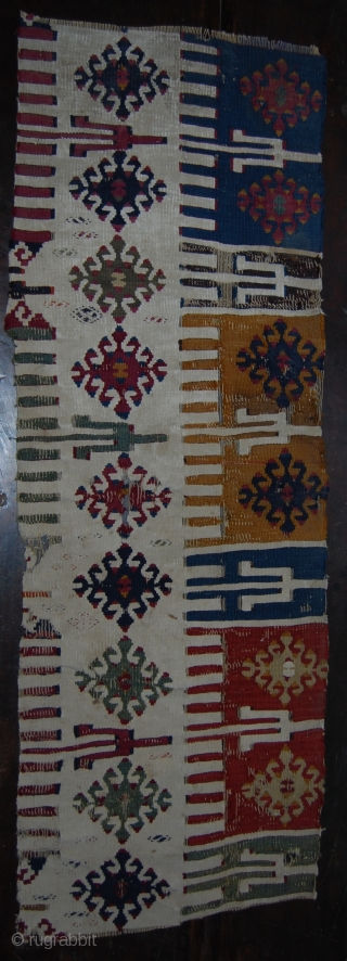 Central Anatolia kilim fragment. Cm 38x110. Second half 19th century. Great colors, great pattern. See more pics on my fb page: https://www.facebook.com/media/set/?set=a.10153419885734258.1073742040.358259864257&type=1&pnref=story