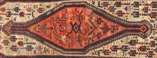 Rare Herki kilim from Hakkari area in Eastern Anatolia, Turkey. Cm 75x210. Kurdish, very primitive, very coarse, most probably used as a cover of a seating place. Dyes seem to be all  ...
