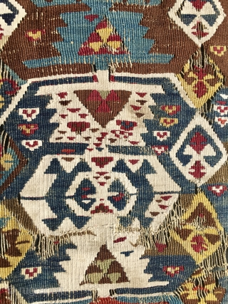 Turkish spaceship! Anatolian kilim fragment. Probably from Aksaray. Cm 100x165 ca. Mid 19th century. Fragmented, with tears, holes, stains, whatever, but.....let me say....with a great power and magic, fantastic natural colors and  ...
