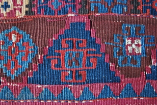 South Eastern Anatolia kilim fragment. Cm 54x70 ca. Mid 19th century. Cochineal red, Malatya apricot and different great blues. Lots of metal thread spots. This is a really good fragment, a great,  ...