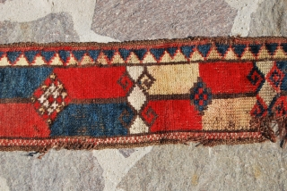 KIRGHIZ PILED TENT BAND FRAGMENT. CM 128X17. LATE 19TH/EARLY 20TH CENTURY. SINGLE WEFT. 