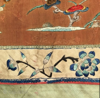Chinese curtain element. Cm 50x195 ca. Late 19th century. Silk embroidery on silk basis. Metal thread in the outer border.  Three parts, each one with a different scene. Really beautiful. Good  ...