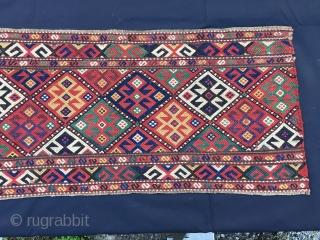 Shahsavan mafrash long panel . Cm 46x104. 2nd half 19th c. Weft float brocading weave. Great colors. Good condition. See Tanavoli, plate 108.