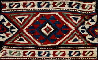 Caucasus, amazing kilim panel. Could be Zakatala. Cm 46x50. Sweet, colorful, antique, iconic, collectable.