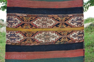 Eat Anatolian cuval. Cm 110x145. Late 19th or early 20th century. Great colors, great pattern, good condition. More pics & infos on rq. More pics on my fb page: https://www.facebook.com/media/set/?set=a.10153486177449258.1073742050.358259864257&type=1