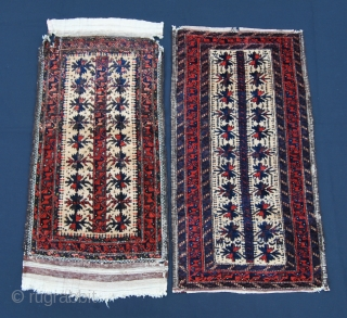 Two lovely Baluchi balisht. Cm 42x90 & 45x86. Fine weave, so wool, great dyes & pattern. Pls note the animal heads in the first one and the figurines and the horses in  ...