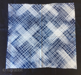 Japan. Hand woven indigo cotton kasuri squares. Kasuri is a Japanese word from kasureru meaning to blur. Actually an ikat. It's a method of creating patterns in cloth through a dye process  ...