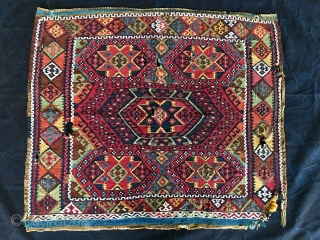 Eastern Anatolia, Malatya, big heybe bag face. Sinanli tribal group.  Cm 67x79. Datable 1880/1890. Wool, cotton, silver/metal thread. Wonderful saturated colors, great five star pattern. Couple of small holes and tears.  ...