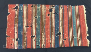 Bergama area blue and red cuval/storage bag back face. Cm 70x122. Blue & red are fantastic. A wreck, but a great wreck. Yes, lots of tears, holes, stains, wear, but.......it's a wonderful  ...