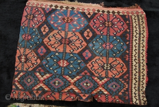 Van, Eastern Anatolia, Kurdish kilim fragment. Size is cm 63x83. Second half 19th century. Lovely, saturated dyes. 