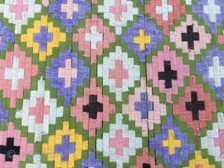 Burma. Kammavaca Buddhist holy wooden book wrapping cloth. Cm 52x58. This colorful textile is made of bamboo tiny laths wrapped by very thin threads forming a double cross pattern. The palm leaves/pages  ...