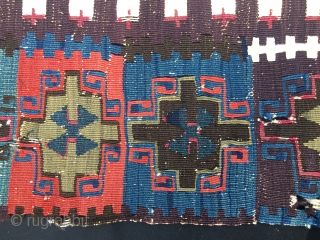 Fantastic kilim fragment. East Anatolia, most probably Reyhanli tribal group. Size is cm 115x200 ca. Datable 1840/1860. Incredibly beautiful natural saturated colors. Great pattern.