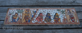 Balinese vintage, ink drawn & hand painted strip made of waxed cotton, with a story from Ramayana, one of the great epics of the Hindi literature. Bali island, Indonesia, mid 20th century.  ...
