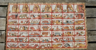 Bali calendar. Ramayana style, one of the great Hindi epics. Cm 40x67. Mid 20th century. Ink drawn & hand painted on waxed cotton/canvas. Artist unknown. Pure tribal art. See more pics on  ...