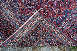 Oops...Wrong attribution…..it's not a Kirman, it's a Mashad, ….Khorassan area rug…..sorry…..I do not know anything about Persian rugs…. 