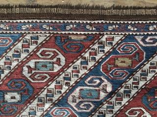 Dragon sumack mafrash panel. Khyzy village, north of Baku. Rare & beautiful. Cm 62x102. Late 19th c. Wonderful soft colors. Condition issues: one hole, lower border needs conservation. A few days ago  ...