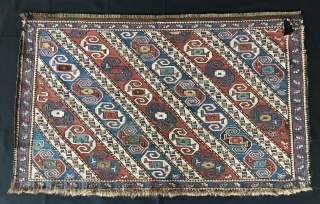 Dragon sumack mafrash panel. Khyzy village, north of Baku. Rare & beautiful. Cm 62x102. Late 19th c. Wonderful soft colors. Condition issues: one hole, lower border needs conservation. First pic shows part  ...