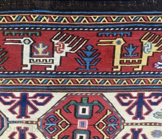 Shahsavan sumack mafrash side panel with original striped bottom. Right age, right colors, right pattern, rare and extremely beautiful. Mint condition. Museum piece. More pics & infos on rq.