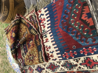 Wonderful Yahyali kilim, Central Anatolia. Cm 105x175. End 19th c. The presence of fuchsine somehow confirms dating roughly 1890/1910. Pattern with two central medallions....wedding present? Great natural saturated colors. Lovely graphics. It  ...