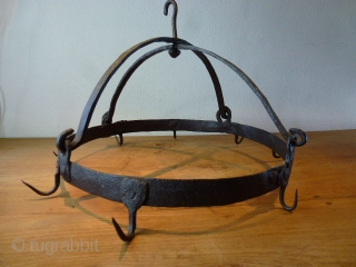 Something different: Wrought iron game rack. !9th century or earlier. Imho should be at least 200 years old. European. Hand forged. Size is cm 44 diameter. Weight is 3.5 kg ca. In  ...