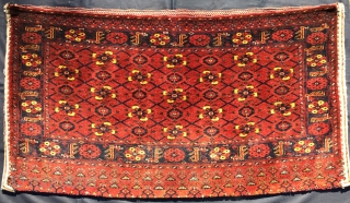 Turkmen Beshir mina khani pile cuval. Cm 100x180 ca. Late 19th/early 20th c. Complete, full pile, huge size, very tight weave, very heavy, great colors, see the super yellow!, good condition except  ...