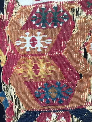 Colors. Color fans only. East Anatolian kilim fragment. Reyhanli tribal group. Cm 40x320 ca. 1800/1850. Fantastic saturated dyes. Ram horns all over. In bits & pieces but still a giant.