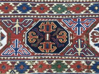 "Extremely rare & beautiful. Azerbaijan. North of Baku. Khizy/Xizi. Shirwan? Mafrash sumack side /long panel. Datable 1880sh. Rare & beautiful. Now available. P.S. According to ""MAFRASH"", the well known book by Siawosch Azadi  ..."