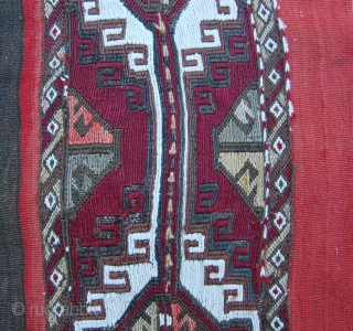 East Anatolian cuval fragment. Cm 105x152. Late 19th or early 20th c. wool & cotton. In bad condition but still charming.