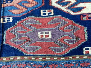 Wonderful Shahsavan reverse weft less sumack mafrash panel or khorjin/bag face. Cm 40x55. 1870/80. Very fines weave. Wonderful saturated colors. Please not the aubergine and the green among other beauties. Lovely crab  ...