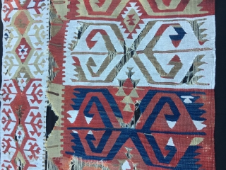 Central Anatolia kilim strip fragment. Probably Hotamis. Size is cm 73x340. Mid 19th century if not earlier. Big ram horns. Fantastic graphics. White is cotton.  Have it mounted and you will have  ...