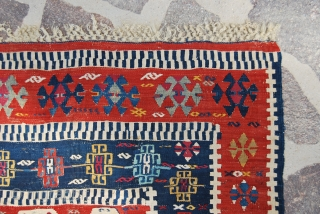 Sivas kilim. Cm 100x143. Second half 19th century. A small jewel! Wonderful color combination. Please note also the deep madder orange, it's simply great! Good condition. See more pics here: