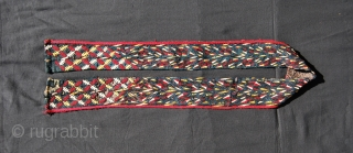 Tekke Turkman chirpy collar. Cm 132x7. Great colors. Over 100 years old. Pls note the changing pattern. Dark blue, green or black was worn by young married woman. See more pics pls: http://www.facebook.com/media/set/?set=a.10151094691774258.494324.358259864257&type=1