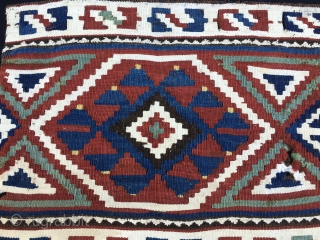 Caucasian kilim panel. Imho it should be a Zakatala. Cm 39x46. 90 to 110 years old. Lovely pattern, great colors, white is cotton. A small jewel. Inexpensive: $ 230 + shipping only