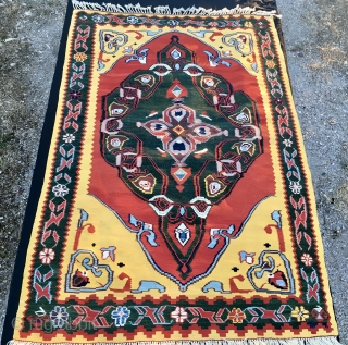 Central Anatolia Dobag era kilim. Cm 140x205. Best wool, best colors, best weaving. Fantastic yellow, green, madder red, etc..... 16th century rug pattern. Never used, in top conditions. Reasonably priced: € 999 plus  ...