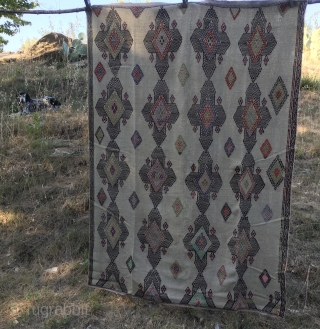 Central Anatolia, Sivas area cicim. Cm 140x205. 1st half 20th century. Cord color back with embroidered pattern filled with kind of Sevan crosses. A couple of small holes, otherwise in good condition.  ...
