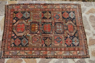 Shirwan Marasali. Cm 110x150. Usual, lovely pattern with owls guarding the central field. Antique. Good condition. Small, old restoration. Pics show rug in full, strong, Summer sun. See more pics on fb:  ...