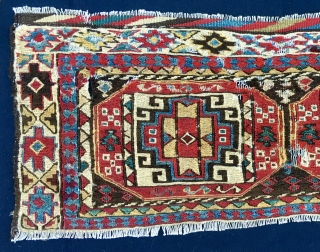 This is probably my oldest and most important Shahsavan tribe piece. Datable 1850/1860 if not earlier. Size is cm 40x94. It's a sumack mafrash long or side panel. Primitive, but enchanting, with  ...
