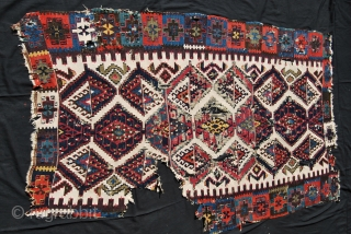 Wonderful East Anatolian kilim fragment. Cm 190x120 ca. At least early 19th century. Fantastic dyes. Wool, cotton, metal thread. 