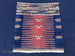 Khorjin bag face. Caucasian? Could be Shirwan? Cm 43x46. 1890/1910sh. Very tight and stiff weave. Lots of embroidery/cicim. Great colors, especially the indigo. Lovely graphics-