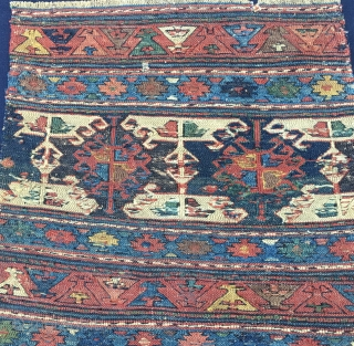 Shahsavan sumack mafrash end panel. Cm 44x48. End 19th century. Great, classical pattern, wonderful natural colors. In good condition. A real wonder.
