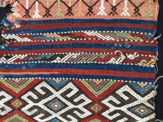 Big Central Anatolian hurc/bag face. Cm 102x138. end 19th century. Heavily embroidered. Wool and clearly visible cotton. Wonderful natural saturated colors. Condition issues. Needs loving care to shine again.