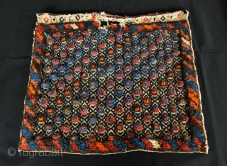 DARRESHURI QASHQAI KHORJIN/SADDLE BAG FACE Lovely, colorful khorjin or saddle bag face. Size is cm 50x46. Early 20th century. Attributed to to the Darreshuri sub tribe, Qashqai tribal group. Sweet, good colors,  ...