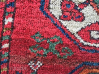"Early 19th century, probably at the time when the Ersari ""swallowed"" the Salors…….. A great, colorful main rug fragment. Cm 94x175. Great colors, great pattern."