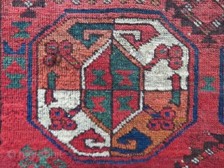 """Early 19th century, probably at the time when the Ersari """"swallowed"""" the Salors…….. A great, colorful main rug fragment. Cm 94x175. Great colors, great pattern."""